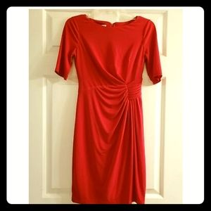 SALE London Style Red Dress Ruched Side Stretch
